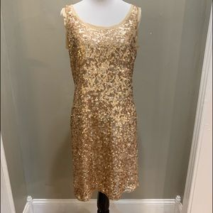 Talbots Gold Sequined Cocktail Dress size 6